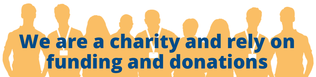 Banner stating - we are a charity and rely on funding and donations, links to charity checkout