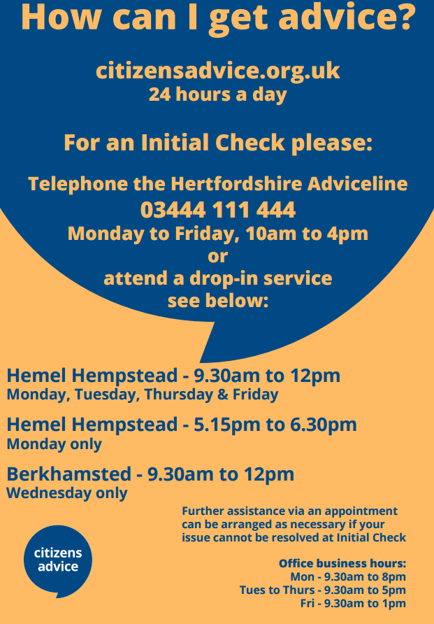 Poster on new opening times and drop-in service